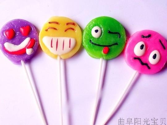 搞怪可爱笑脸表情 金稻谷棒棒糖点花硬糖 韩式创意棒棒糖儿童糖果